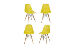 Dark Yellow DSW Mid Century Modern Dining Shell Chair Beech Wood Eiffel Leg, Yel