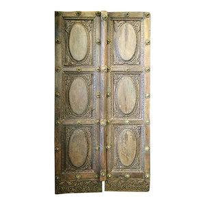 Mogul interior - Consigned Indian Haveli Doors Solid Rustic Wood Door Panel India Teak Furniture - Indian wooden doors in various designs and patterns which not only depict the Indian mythology but also adorn the interiors of the Havelis or Indian mansions.