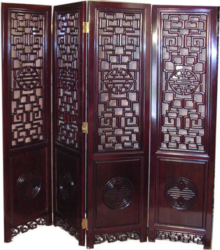 Mother Of Pearl Inlay Wooden Mini Folding Screen Asian: Asian Screens & Room Dividers