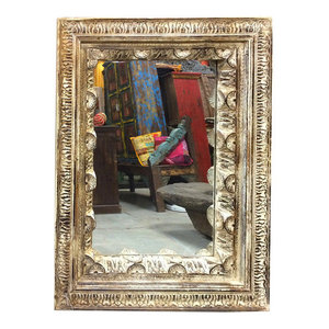 Mogul Interior - Consigned Hand Carved Frame With Mirror Rustic Reclaimed Indian Architectural - *Aesthetically Traditional shabby chic floral carving work in indian wooden mirror frame.