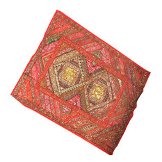 Mogul Interior - Red Orange Sequin Embroidered Tapestry Vintage Sari Wall Hanging - Tapestries