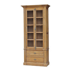 Marcus French Country Reclaimed Wood Single Bookcase - Combining a tall, slim curio cabinet with ...