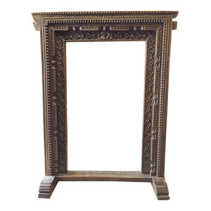 Mogul Interior - Consigned Architectural Decor Welcome Gate Solid Rustic Wood - The famous jharokha furniture, beautifully carved on wood.It is used as floral picture frames near to the main gate of a house.