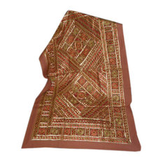 Mogul Interior - Indian Rust Sofa Throw Vintage Banjara Hand Embroidered Throw Home Decor - Tapestries