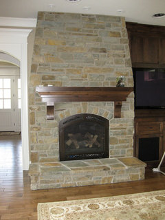 Fireplace remodel stone for all or half of wall for Fireplace half stone