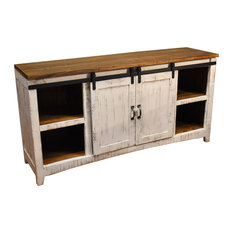 Crafters And Weavers Barn Door Media Console Rustic White