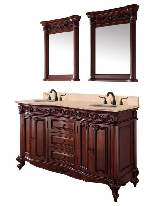New Adelina 56 Inch Antique Style Bathroom Vanity Fully Assembled White