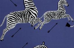 Scalamandre Zebras Wallpaper, Denim