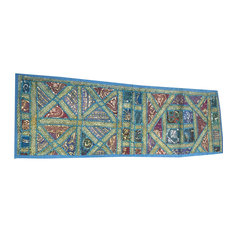 Mogul Interior - Consigned Ethnic Boho and Sari Patchwork Golden Embroidered - Table Runners