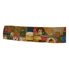 Mogul interior - Consigned Mirror Sari Sequin Embroidered Wall Hanging - Add bohemian ethnic style and character to your interiors with gorgeous handcrafted Indian wall hanging.