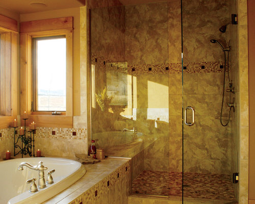 walk in shower with seat Rustic Bathroom Design Photos with Mosaic ...
