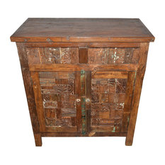 Mogul Interior - Consigned Hand-Carved Antique Ink Blocks Media Sideboard With Storage - Accent Chests And Cabinets