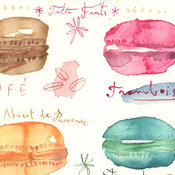 French macarons original watercolor painting by lucileskitchen