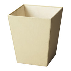 Butler Lido Cream Leather Storage Basket Wastebaskets