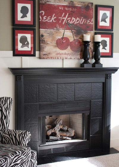 Painted fireplace mantels add pizzazz - Interesting images of black fireplace mantel decor ...