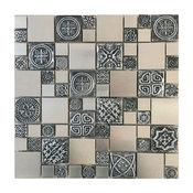 "11.75""x11.75"" French Pattern Stainless Steel Metal Mosaic Tile, Full Sheet"