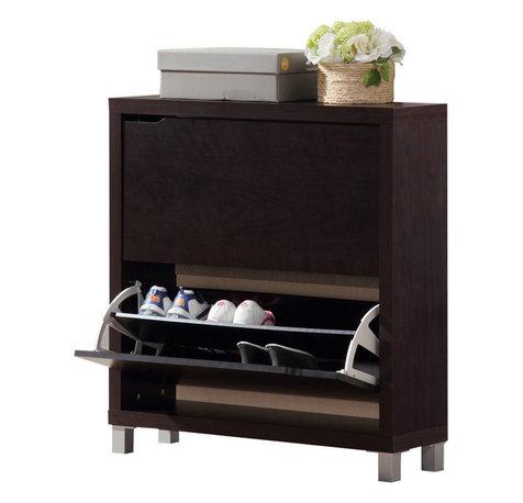 ... - Baxton Studio Simms Dark Brown Modern Shoe Cabinet - Shoe Storage