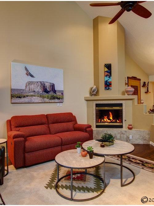Southwestern Corner Fireplace Home Design Photos Decor