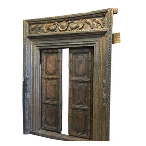 Mogulinterior - Consigned Double Door Frame Rustic Peacock Hand Carved Antique Temple Door - The door comes from India and are a 18/19 century vintage pieces.