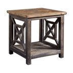 Reclaimed Wood And Metal Side Table Eclectic Side
