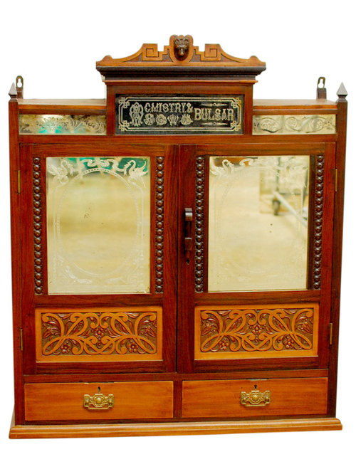 Jacobean Carved Medicine Cabinet Apothecary - Antique carved rosewood hanging medicine cabinet ...