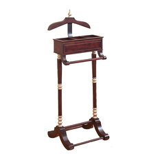 Aspire Home Accents - Cherry Finish Wood Valet Rack - This valet rack features a traditional design with a charming cherry wood finish that will add a warm touch to your decor. Three compartments also provide space for jewelry and other pocket items. Why wait? Place your order today!
