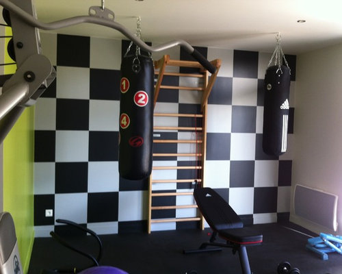 affordable home gym design ideas renovations photos with multi coloured walls. Black Bedroom Furniture Sets. Home Design Ideas