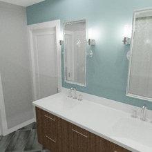 Fremont Split level Ranch Mid Century Modern Master Bath