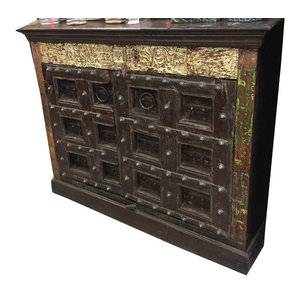 Mogul Interior - Antique Rustic Doors Sideboard Reclaimed Wood Buffet Console Storage - The Sideboard comes from India and the doors are  19 century vintage pieces. Newly handcrafted from reclaimed mango woods the sides and top are finished in warm teak colors.