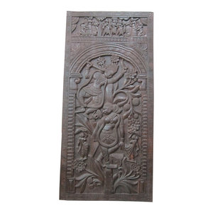 Mogul Interior - Consigned Indian Door Decorative Panel Radha Krishna On Tree Hand Carved 72X - Hand carved wall panels of Krishna and Radha dancing on the Kadambari tree on the double lotus flower base from India.