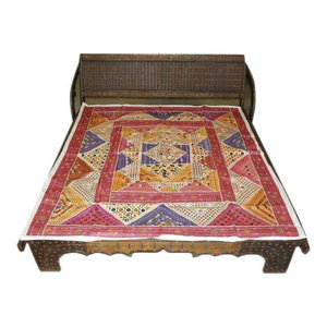 Mogul Interior - Embroidered Bedspread Patchwork Maroon Ivory Tapestry Throw - Vibrant multicolor sparkling and mirror work adds to the glitter adorn various motifs cotton vintage sari hues of ivory, Orange, Yellow, red , pink maroon