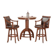 matching bar stools each in matching cherry wood color with brown