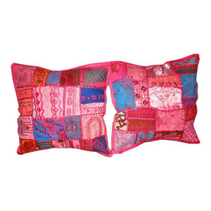 Mogul interior - India Decor Toss Pillow Shams Pink Patchwork, Set of 2 - Add a splash of ethnic ambiance to any room, with our range of beautifully embellished decorative cushion covers. Wall hanging tapestry, patchwork toss pillow shams are great as gifts as well.