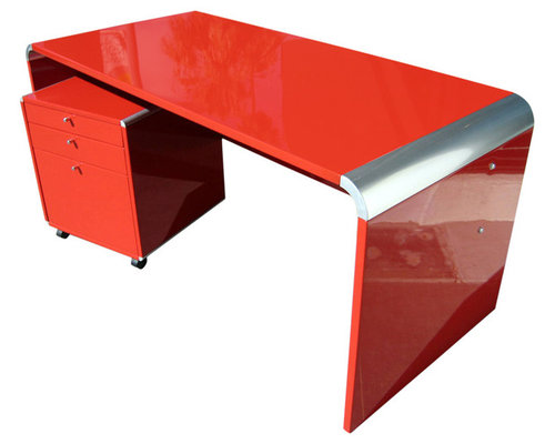 Chic Lacquered Desk and Drawer Unit - This glossy red desk is all ...