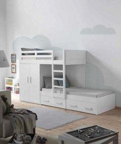 Dise o cuarto compartido literas camas nido o camas for Camas compactas desplazables