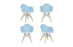 Set of 4 DAW Light Blue Mid Century Modern Dining Armchair, Wood Eiffel Legs