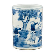 Blue and White Small Vase With Figures