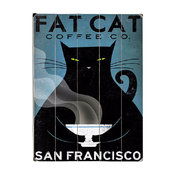 """""""Cat Coffee"""" Wood Sign, 14"""" X 20"""", Planked"""