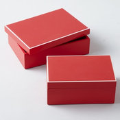 Set of Two Red Covered Boxes