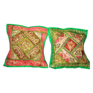 Mogul Interior - Handmade Cushion Cover Sari Patch Pillow Shame - An easy way to add textures and patterns to a room with our beautifully handmade embroidered patchwork pillow cushion covers. Intricate thread work swirls around sequins, creating a vibrant, colorful and dazzling arrangement.