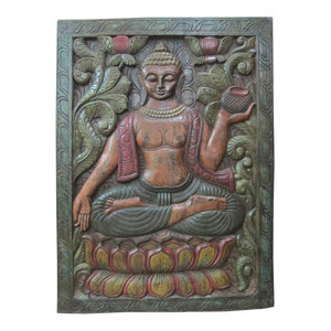 Mogul Interior - Consigned Buddha Door Panel Multicolor Patina - The Buddha is seated In earth touching gesture on double floral base hand carved colorful door panel from India.