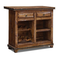 Crafters and Weavers - Rustic Reclaimed Solid Wood Bar with Wine ...