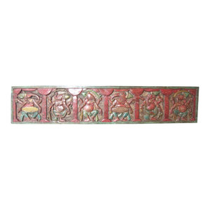 Mogul interior - Consigned Antique Hand Carved Headboard Panel Six Nritya Ganesha - This wooden Headboard is an indian piece of art for any wall decor and suitable for contemporary or traditional interiors.