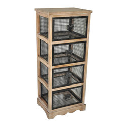 ... Accent Wood Cabinet With 4 Wire Drawers - Wire Drawers, Wood Frame