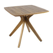 GDF Studio Stanford Outdoor Square Acacia Wood Dining Table With X Base, Teak