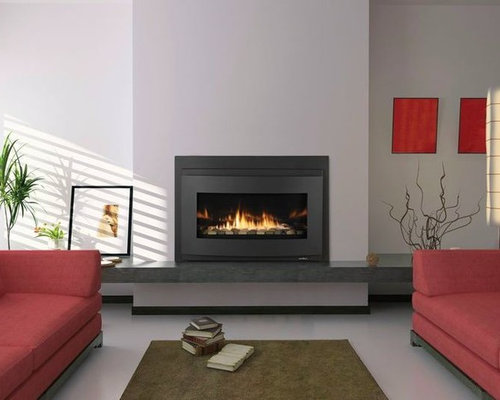 Budget living room design ideas renovations photos with a hanging fireplace - Contemporary fireplace insert for a warm living room ...