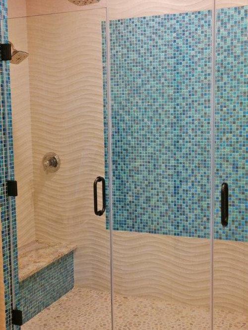maritime badezimmer mit orangefarbenen fliesen ideen f r. Black Bedroom Furniture Sets. Home Design Ideas