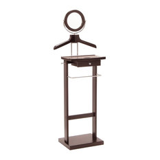 "Winsome Wood - Winsome Wood Valet Stand with Dark Espresso Finish X-55129 - This Valet stand keeps great organization of your suit, dress shirt, shoes and accessories within reach.  Overall assembled product size is 19.84""W x 14.96""D x 55.33""H.  Sturdy construction with rich espresso finish. Features includes coat/shirt hanger, pant hanging bar, mirror and drawer.  Assembly Required."