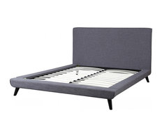 Nixon Gray Linen King Bed The Mid Century Designed Nixon Bed