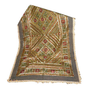 Mogul Interior - Dark Grey Sofa Throw, Vintage Kutch Style Textile Sari Hand Embroidered Tapestry - Gorgeous & creative rectangular shape exquisite multi color Sofa Throw/ Bedspread has intricate mirror and hand embroidery works add ethnic touch to your home.
